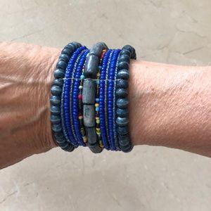 Handmade in Tibet - Beaded cuff bracelet
